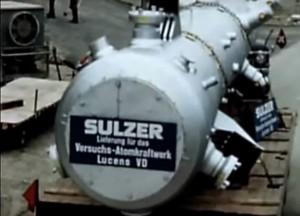 Anlieferung des Reaktordruckbehälter Lucens