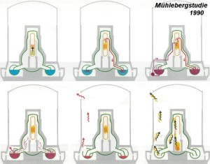 Die Studie 1990 zeigt den Möglichen Kernschmelzunfall im AKW Mühleberg auf